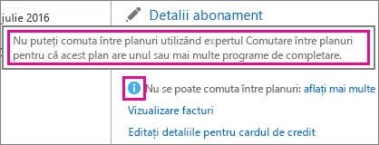 Vizualizarea mesajului niciun plan pentru comutare în Office 365 pentru firme.