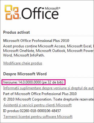 Număr de versiune Office