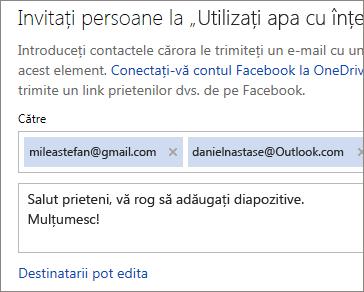 Tastați adrese de e-mail și un mesaj pentru a trimite un link prin e-mail