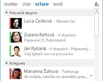 Snímka obrazovky zobrazujúca zoraďovanie kontaktov podľa vzťahov