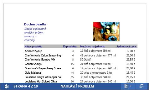 Vložený PDF súbor skatalógom produktov zobrazený vaplikácii Word Web App