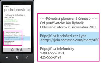 Snímka obrazovky zobrazujúca žiadosť na pripojenie sa k schôdzi cez Lync v prípade mobilných mobilných klientov
