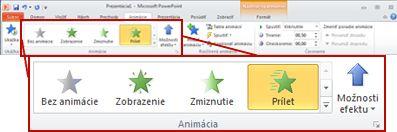 Skupina Animácia na karte Animácie.