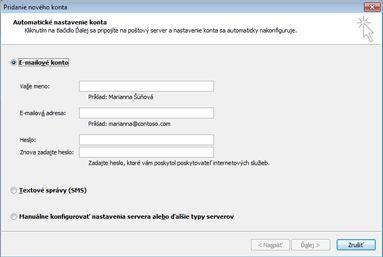 Dialógové okno Pridanie nového konta s vybratým e-mailovým kontom