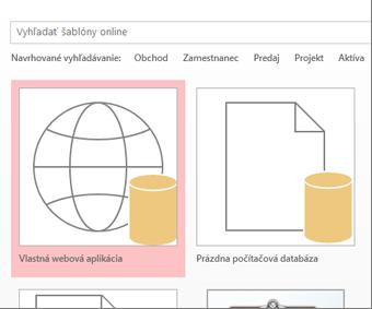 Tlačidlo Vlastná webová aplikácia na úvodnej obrazovke