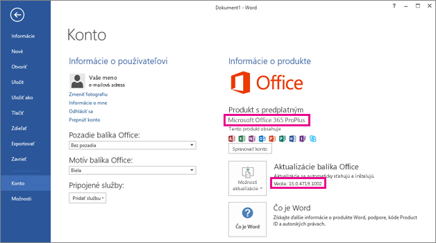 Word 2013 installed with Office 365 showing the File > Account window