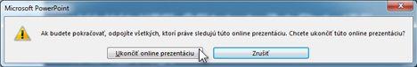 Dialógové okno ukončenia online prezentácie