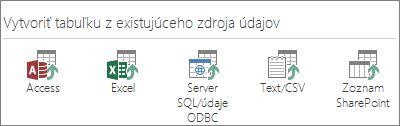 Výbery zdrojov údajov: Access, Excel, SQL Server alebo údaje ODBC, text alebo súbor CSV, zoznam SharePointu.