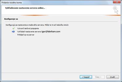 Dialógové okno Pridanie nového konta s informáciou, že nastavenia e-mailového servera sa nepodarilo nakonfigurovať