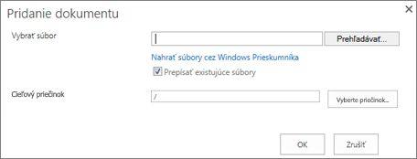 Nahratie pomocou Windows Prieskumníka
