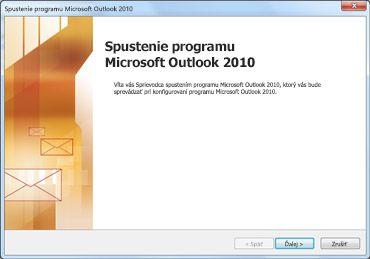 Úvodné okno programu Outlook 2010