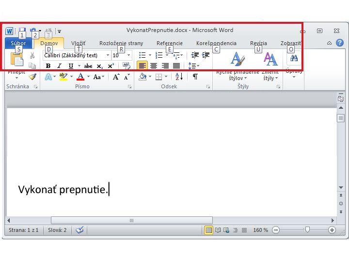 Karta Domov v programe Word 2010 a zobrazenie tipov na stlačenie klávesov