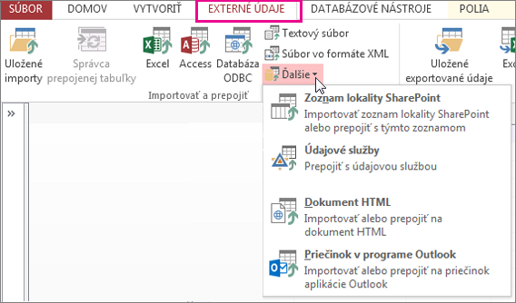 Možnosti na karte Externé údaje vAccesse