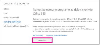 Namestitev namiznih programov za delo s storitvijo Office 365