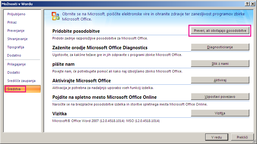 Preverjanje posodobitev za Office v Wordu 2007