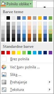 Meni »Polnilo oblike« z barvnimi možnostmi
