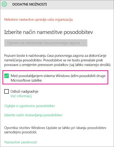 Windows Update Advanced options