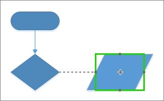 Prilepite povezovalnik na obliko, da omogočite dinamično gibanje povezovalnika do točk oblike.