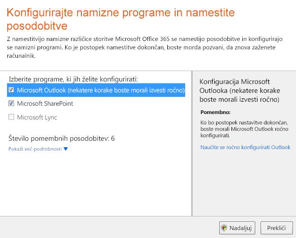 Konfigurirajte namizne programe in namestite posodobitve