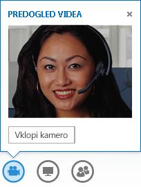 Posnetek zaslona predogleda videa z izbrano možnostjo »Vklopi kamero«