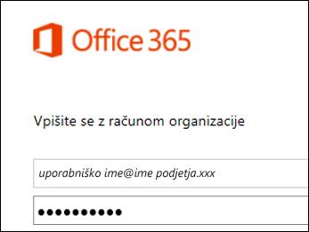 Zaslon za vpis na portalu Office 365