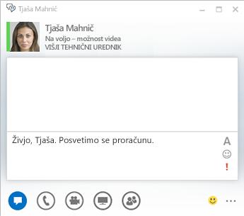 Posnetek zaslona okna za pogovor z neposrednimi sporočili