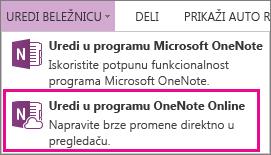 Uređivanje beležnice u programu OneNote Online