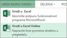 """Stavka """"Uredi u programu Excel Web App"""" u meniju """"Uređivanje radne sveske"""""""