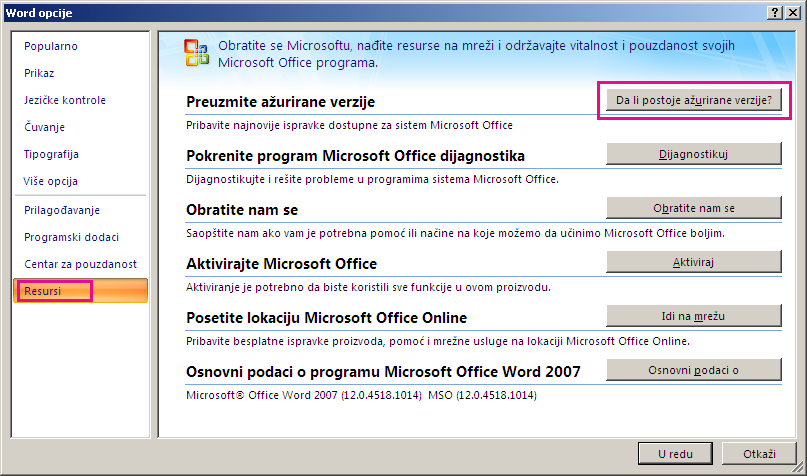 Traženje Office ispravki u programu Word 2007