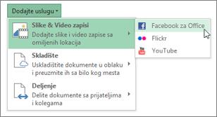 Dodavanje usluge kao što su Flickr ili Facebook za sistem Office