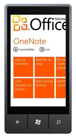 Čvorište OneNote Mobile 2010