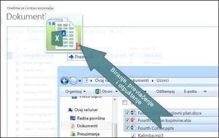Prevlačenje i otpuštanje radi otpremanja datoteka u OneDrive