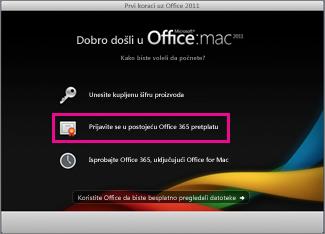 Početna stranica za instalaciju sistema Office za Mac, na kojoj se prijavljujete u postojeću Office 365 pretplatu.