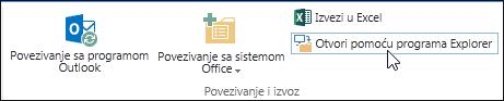 """Komanda """"Otvori pomoću programa Explorer"""" na kartici """"Biblioteka"""" na traci"""