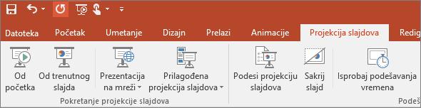 Prikazuje karticu projekcije slajdova na traci u programu PowerPoint