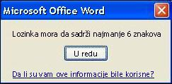 Poruka o grešci kada lozinka ne sadrži minimalan broj znakova