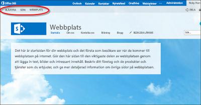 Standardlayout för den offentliga Office 365-webbplatsen