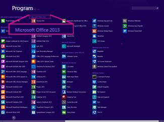 Hitta Office-programmet efter namn