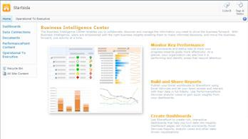 Business Intelligence Center, en webbplats i SharePoint Server 2010