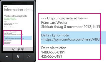 Skärmbild av förfrågan om att ansluta till Lync-möte i Lync för mobil klient