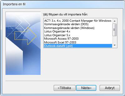 Import-/exportguiden med vald Outlook-datafil (.pst)