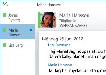 Skärmdump av en konversation med flikar