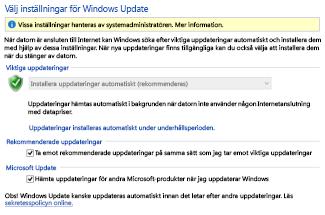 Windows 8 Windows Update-inställningar i Kontrollpanelen