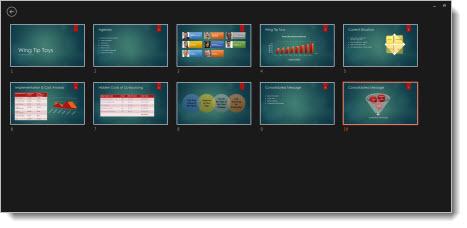 Visa alla bilder i en presentation