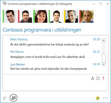 Skärmdump av fortlöpande chatt med 6 deltagare