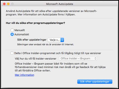 Autouppdatering av Office för Mac