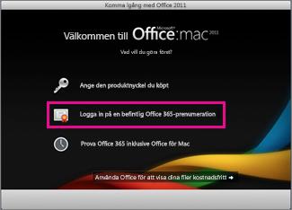Office för Mac, heminstallationssida där du loggar in till en befintlig Office 365-prenumeration.