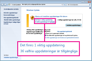 Länkar i Windows Update-fönstret
