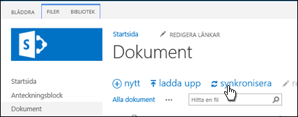 Synkronisera ett webbplatsbibliotek