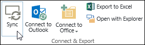 Sync option on the Library tab in the ribbon